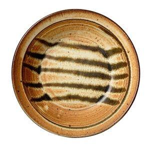 "Signed studio pottery deep dish tiger stripe 7.5"""